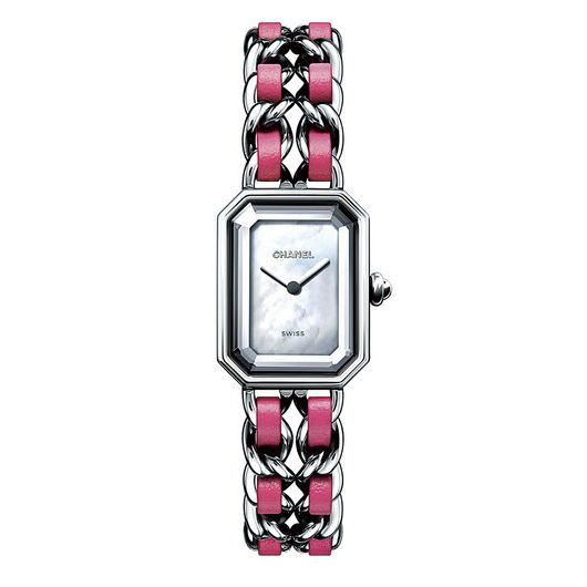 Analog watch, Watch, Watch accessory, Fashion accessory, Pink, Jewellery, Rectangle, Material property, Magenta, Strap,