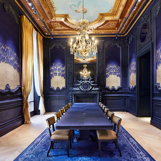 Blue, Ceiling, Interior design, Room, Property, Building, Furniture, Wall, Architecture, Wallpaper,