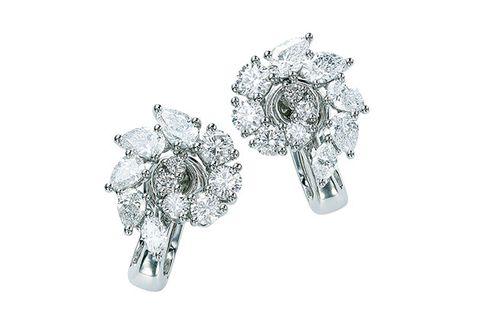 Jewellery, Diamond, Fashion accessory, Gemstone, Platinum, Earrings, Body jewelry, Engagement ring, Silver, Metal,