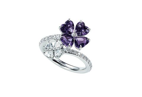 Amethyst, Jewellery, Ring, Pre-engagement ring, Fashion accessory, Gemstone, Engagement ring, Diamond, Platinum, Body jewelry,