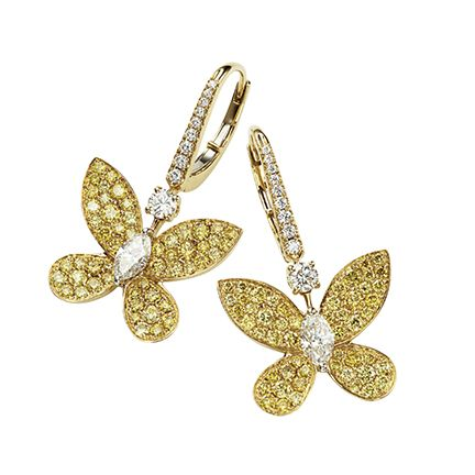 Leaf, Fashion accessory, Jewellery, Yellow, Font, Butterfly, Diamond, Body jewelry, Pollinator, Metal,
