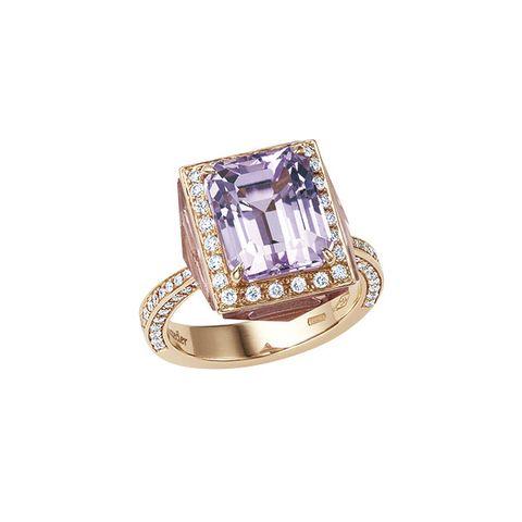 Jewellery, Ring, Fashion accessory, Amethyst, Gemstone, Engagement ring, Diamond, Purple, Yellow, Emerald,