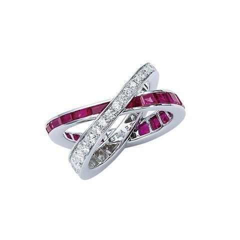 Fashion accessory, Diamond, Gemstone, Jewellery, Ring, Ruby, Engagement ring, Platinum, Footwear, Magenta,