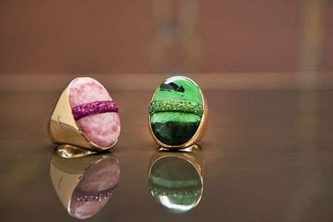 Green, Pink, Fashion accessory, Jewellery, Close-up, Gemstone, Macaroon, Macro photography, Metal, Still life photography,