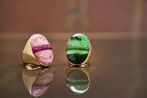 Green, Pink, Fashion accessory, Jewellery, Close-up, Gemstone, Macaroon, Macro photography, Metal, Still life photography,