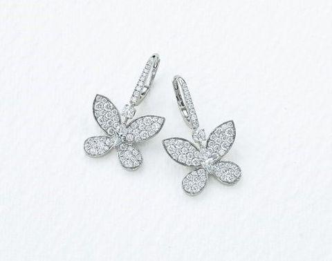 Jewellery, Body jewelry, Fashion accessory, Silver, Diamond, Silver, Metal, Earrings, Butterfly, Platinum,