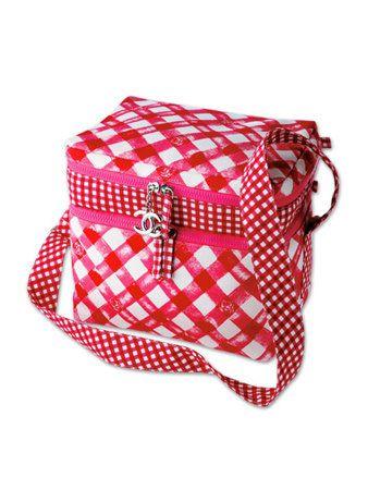 Bag, Pattern, Red, Plaid, Shoulder bag, Beige, Maroon, Luggage and bags, Tartan, Design,