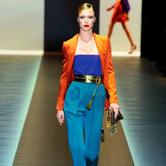 Clothing, Blue, Fashion show, Joint, Red, Runway, Style, Fashion model, Waist, Electric blue,