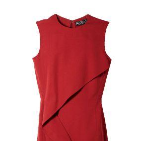 Sleeve, Red, Textile, Dress, Collar, Orange, Maroon, Carmine, One-piece garment, Fashion,