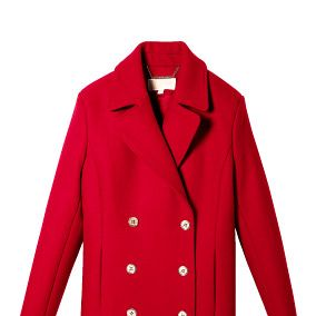 Clothing, Coat, Product, Collar, Sleeve, Textile, Red, Outerwear, Pattern, Blazer,