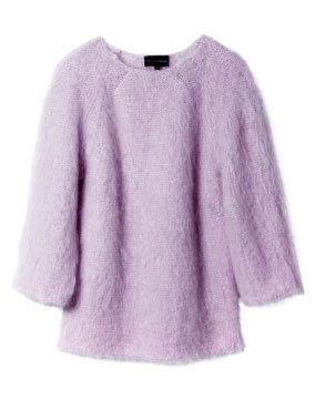 Product, Sleeve, Purple, Violet, Textile, Sweater, Lavender, Outerwear, White, Wool,