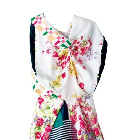 Textile, Collar, Pattern, Pink, Formal wear, Style, Fashion, Day dress, Turquoise, Mannequin,
