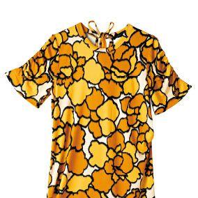 Yellow, Orange, Sleeve, Pattern, Amber, Baby & toddler clothing, Day dress, One-piece garment, Peach, Design,