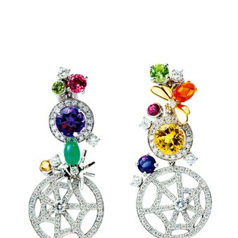 Magenta, Lavender, Circle, Body jewelry, Natural material, Gemstone, Earrings, Artificial flower, Silver, Creative arts,