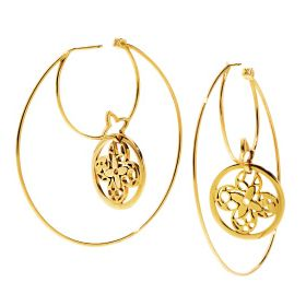 Earrings, Jewellery, Fashion accessory, Amber, Natural material, Body jewelry, Metal, Circle, Craft, Gold,