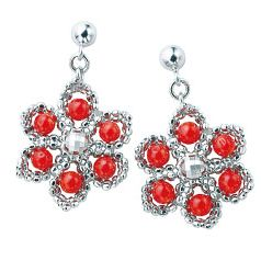 Jewellery, Red, Fashion accessory, Earrings, Body jewelry, Natural material, Circle, Gemstone, Silver, Creative arts,