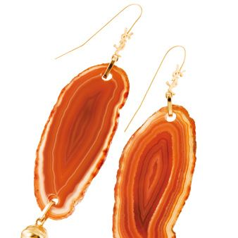 Product, Brown, Earrings, Red, Orange, Fashion accessory, Amber, Natural material, Body jewelry, Metal,