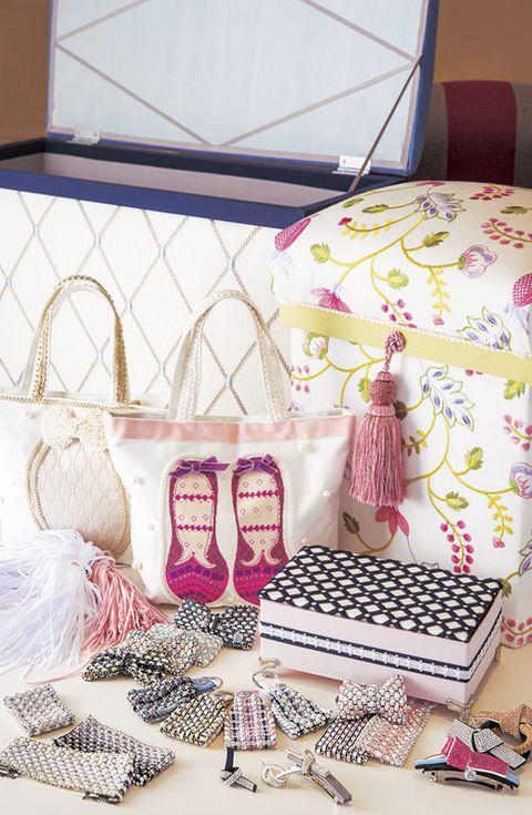 Pink, Room, Table, Textile, Interior design, Wedding favors, Party favor, Furniture,