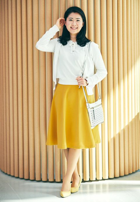 Clothing, White, Yellow, Fashion, Pencil skirt, Waist, Blouse, Neck, Footwear, Shirt,