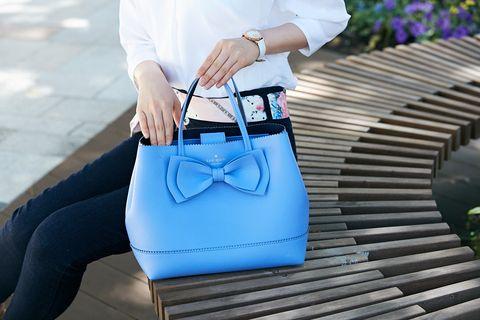 Blue, White, Bag, Street fashion, Clothing, Shoulder, Handbag, Jeans, Fashion, Denim,