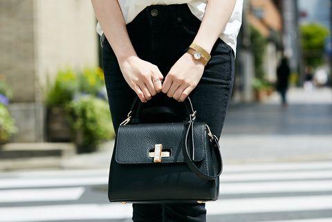 Street fashion, Black, Bag, Fashion, Shoulder, Waist, Joint, Footwear, Fashion accessory, Handbag,