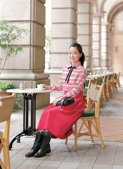 Photograph, Pink, Clothing, Sitting, Fashion, Furniture, Dress, Street fashion, Leg, Leisure,