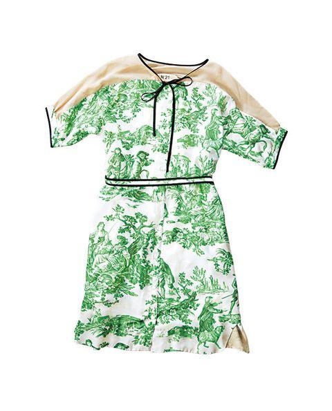 Clothing, Day dress, Green, Sleeve, Dress, Pattern, Pattern, Blouse, Robe, Top,