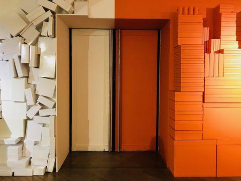Orange, Door, Architecture, Room, Material property, Building, House, Window,