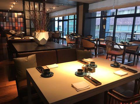 Interior design, Room, Building, Furniture, Table, Restaurant, Architecture, Café, Living room, Office,
