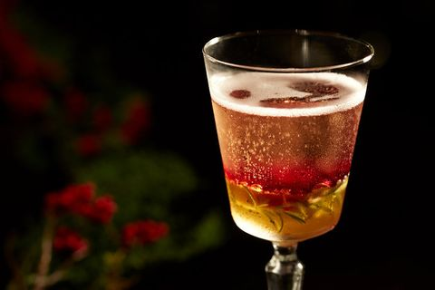 Drink, Champagne cocktail, Classic cocktail, Alcoholic beverage, Cocktail, Distilled beverage, Champagne stemware, Wine cocktail, Liqueur, Non-alcoholic beverage,