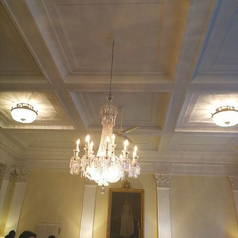 Ceiling, Chandelier, Light fixture, Ceiling fixture, Lighting, Light, Plaster, Molding, Lighting accessory, Interior design,