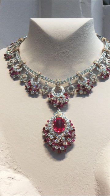 Jewellery, Fashion accessory, Necklace, Body jewelry, Ruby, Maroon, Neck, Magenta, Gemstone, Jewelry making,