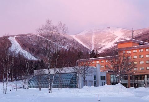 Snow, Winter, Sky, Freezing, Atmospheric phenomenon, Mountain, Tree, Morning, Hill station, Mountain range,