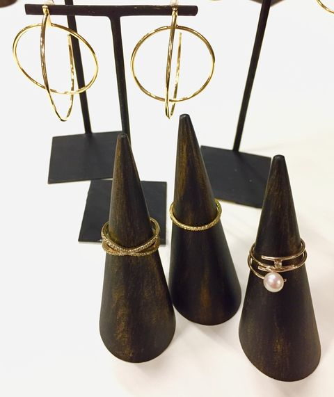 Cone, Fashion accessory, Earrings, Metal, Brass, Jewellery,
