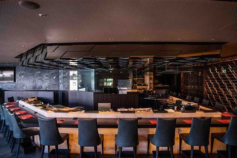 Restaurant, Building, Room, Interior design, Lighting, Table, Architecture, Furniture, Ceiling, Bar,