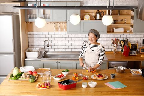 Cook, Kitchen, Room, Brunch, Meal, Food, Breakfast, Furniture, Interior design, Cooking,