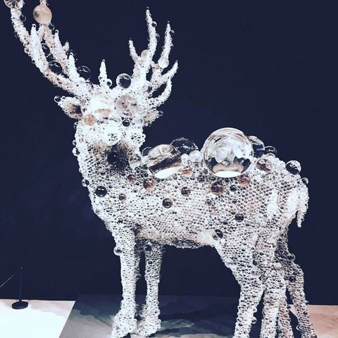 Reindeer, Deer, Sculpture, Figurine, Metal, Art, Statue, Ornament, Antler, Glass,