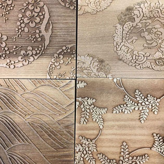 Pattern, Leaf, Beige, Design, Motif, Wood, Visual arts, Wallpaper, Drawing, Floor,