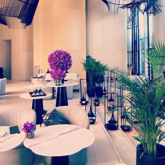 Blue, Interior design, Room, Purple, Decoration, Property, Furniture, Architecture, Table, Building,