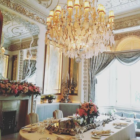 Decoration, Ceiling, Chandelier, Dining room, Room, Interior design, Lighting, Light fixture, Table, Function hall,