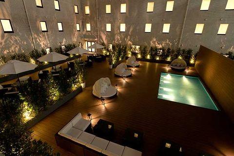 Lighting, Architecture, Interior design, Building, Night, Room, Design, Hotel, Floor, House,