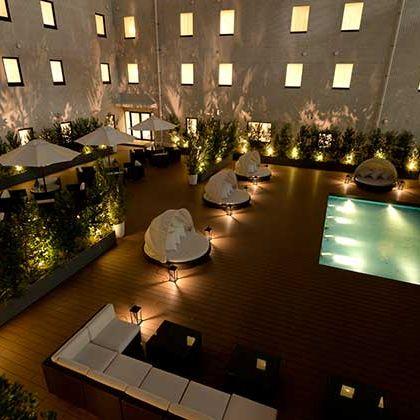 Lighting, Architecture, Interior design, Building, Room, Design, Night, Floor, Hotel, Function hall,