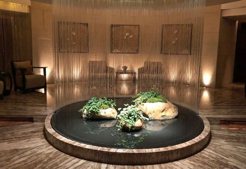 Lighting, Interior design, Floor, Flooring, Lobby, Room, Building, Water feature, Houseplant,