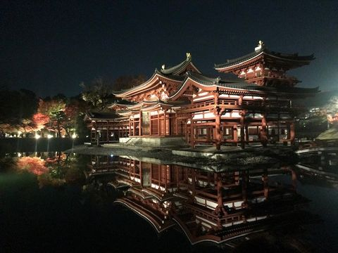 Chinese architecture, Japanese architecture, Architecture, Sky, Night, Landmark, Building, Shrine, Temple, Pagoda,