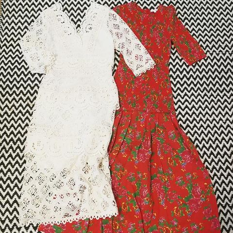Clothing, Day dress, Dress, White, Red, Pattern, Pattern, Textile, Lace, Design,