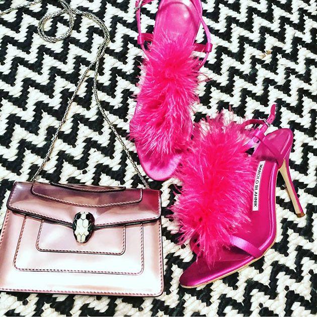 Pink, Fur, Feather, Magenta, Fashion accessory, Material property, Costume accessory, Handbag, Bag,