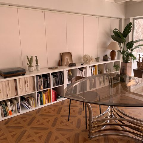 Furniture, Interior design, Room, Shelf, Table, Floor, Building, Shelving, Flooring, Architecture,