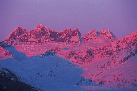 Mountainous landforms, Mountain range, Slope, Landscape, Natural landscape, Summit, Pink, Hill, Ridge, Purple,