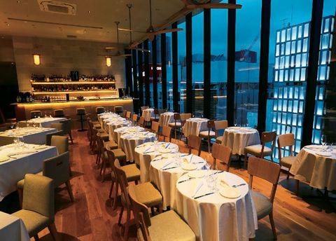 Restaurant, Building, Room, Architecture, Interior design, Function hall, Table, Business, Organization,