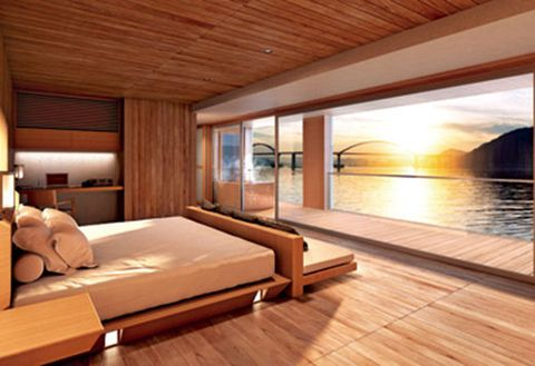 Room, Property, Interior design, Luxury yacht, Furniture, House, Building, Bedroom, Architecture, Wood flooring,